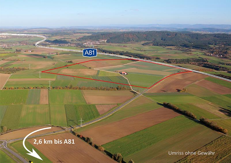 Luftbild Best Invest mit Pfeil zur Autobahn
